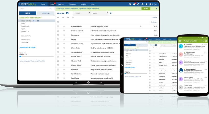 Interfaccia Libero Mail Plus